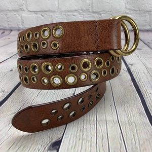 """Accessories - Brown Leather Belt Grommet Double Ring Buckle 32"""""""